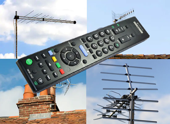 image of TV aerials and a remote control